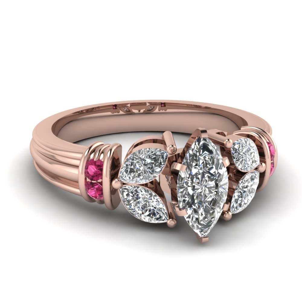 Marquise Shaped Diamond Side Stone Engagement Rings With Pink Sapphire In  14k Rose Gold