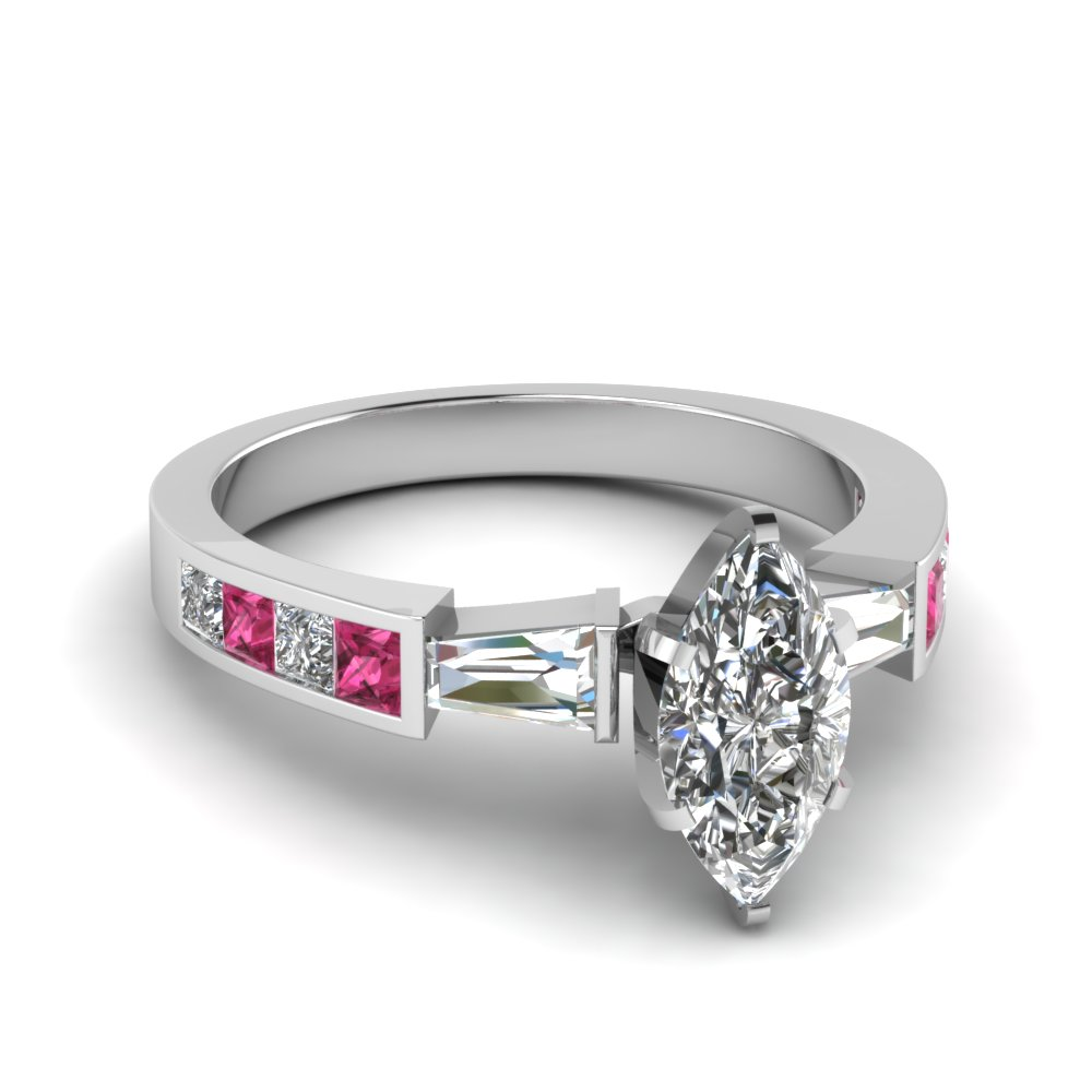 baguette channel set marquise 3 stone diamond engagement ring with pink sapphire in FDENR2739MQRGSADRPI NL WG