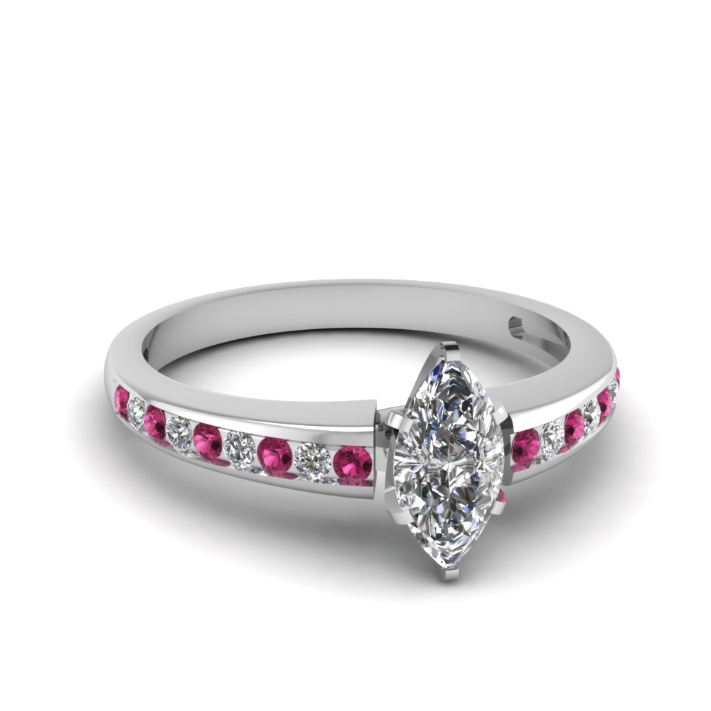 channel set marquise diamond engagement ring with pink sapphire in FDENS3018MQRGSADRPI NL WG