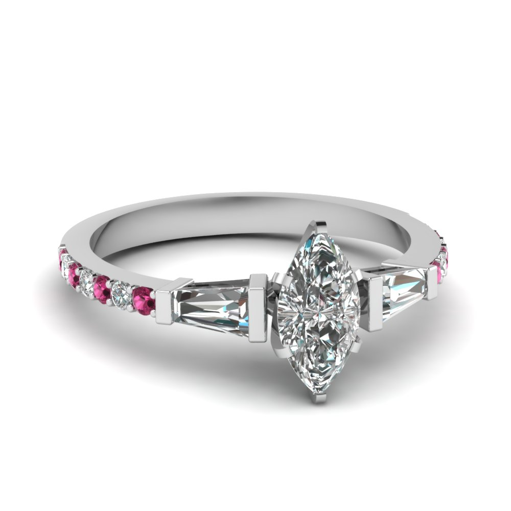3 stone baguette marquise diamond engagement ring with pink sapphire in FDENS1099MQRGSADRPI NL WG