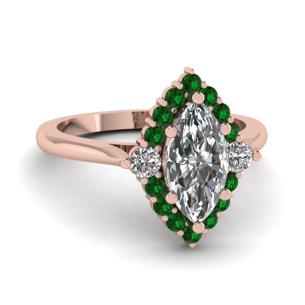 Marquise Shaped Green Emerald Halo Engagement Rings