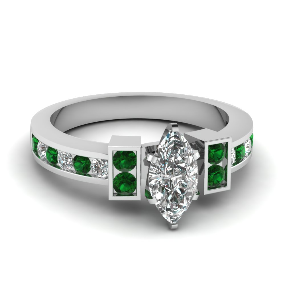 Channel Set Emerald Accented Marquise Cut Engagement Ring
