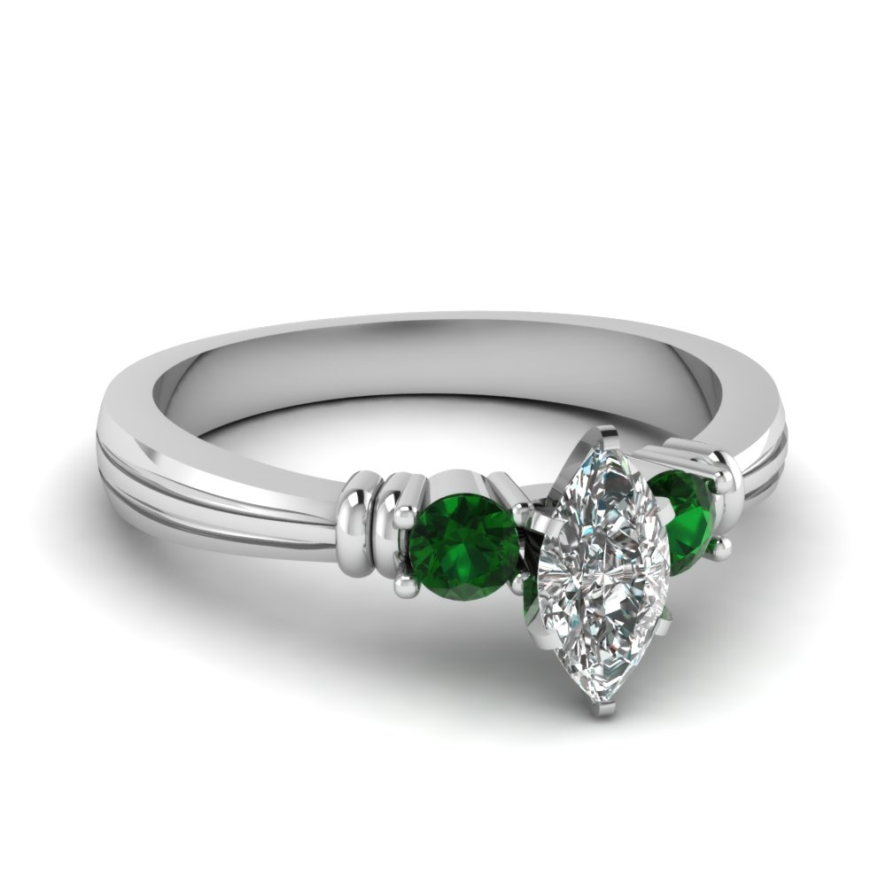 marquise shaped tapered 3 stone diamond engagement ring with emerald in FDENS657MQRGEMGR NL WG