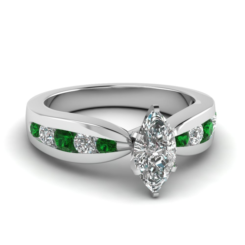 tapered channel set marquise diamond engagement ring with emerald in FDENR2224MQRGEMGR NL WG