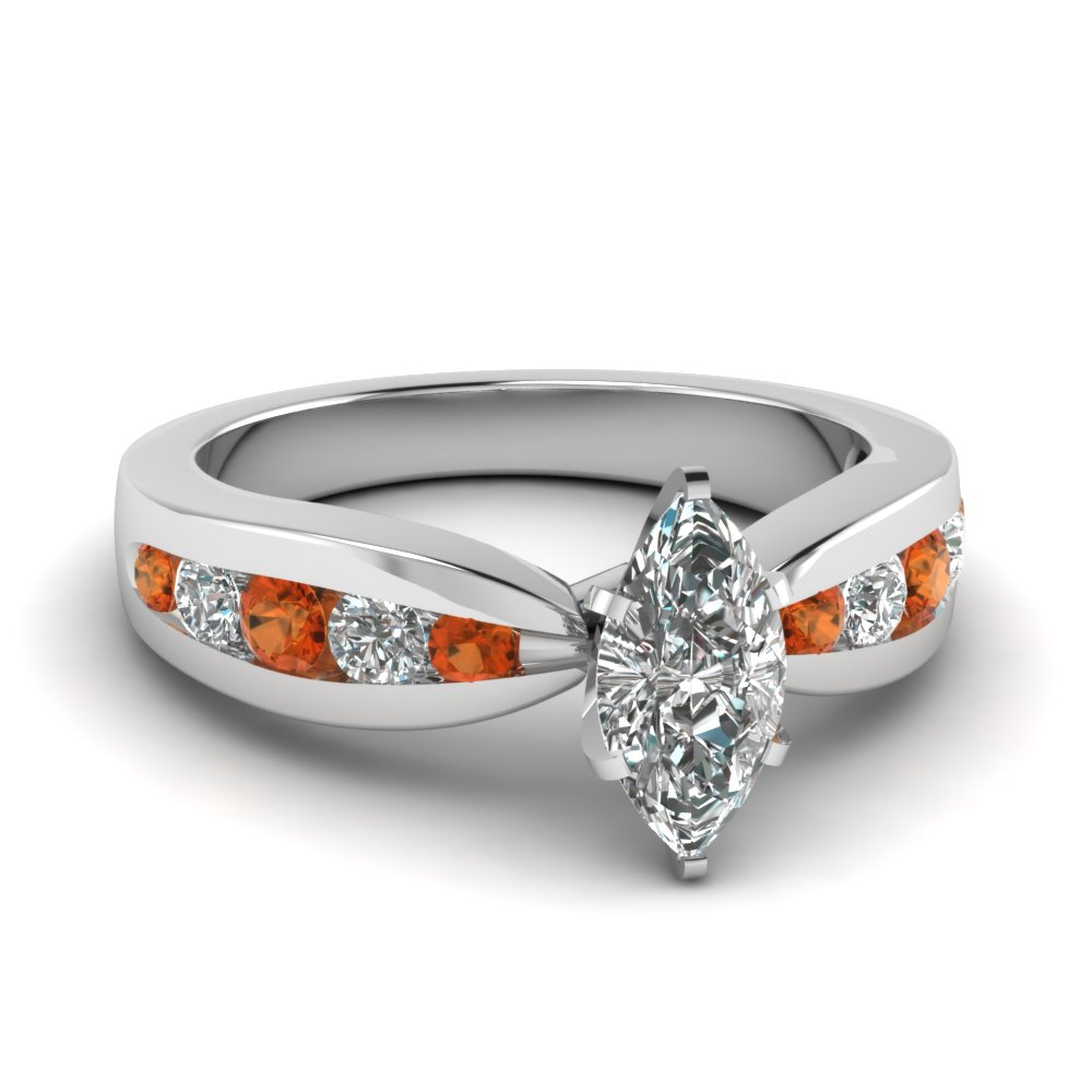 tapered channel set marquise diamond engagement ring with orange sapphire in FDENR2224MQRGSAOR NL WG