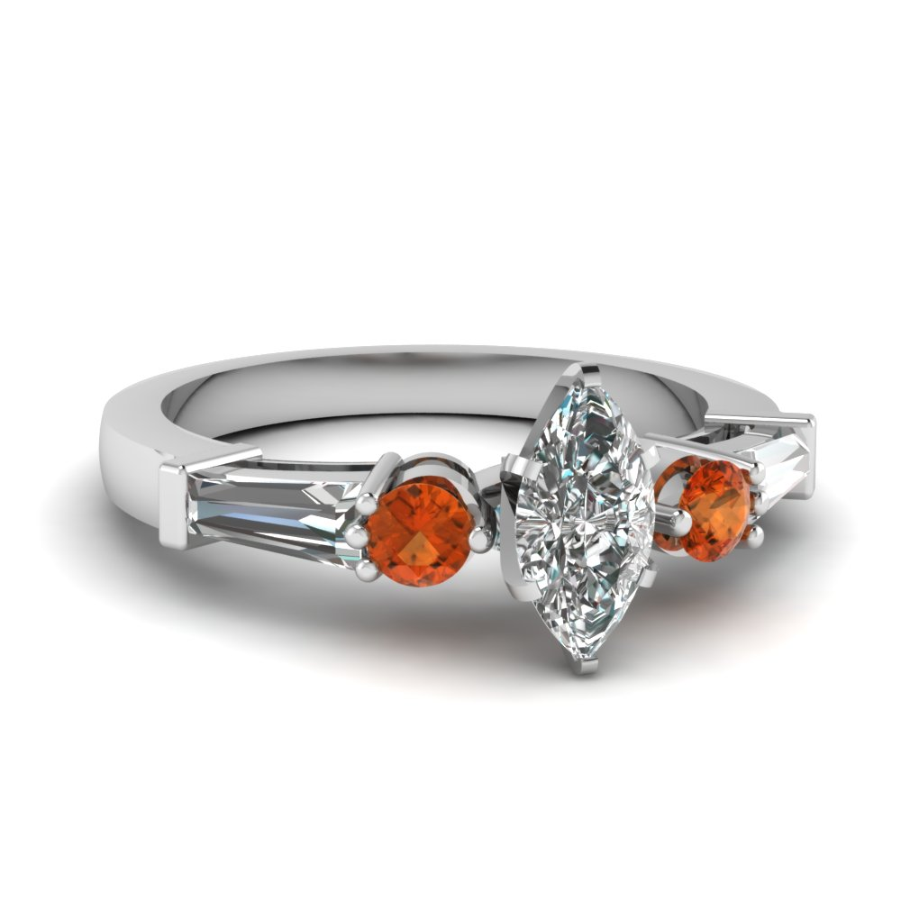 marquise cut basket 5 stone orange sapphire engagement ring with baguette in FDENS275MQRGSAOR NL WG