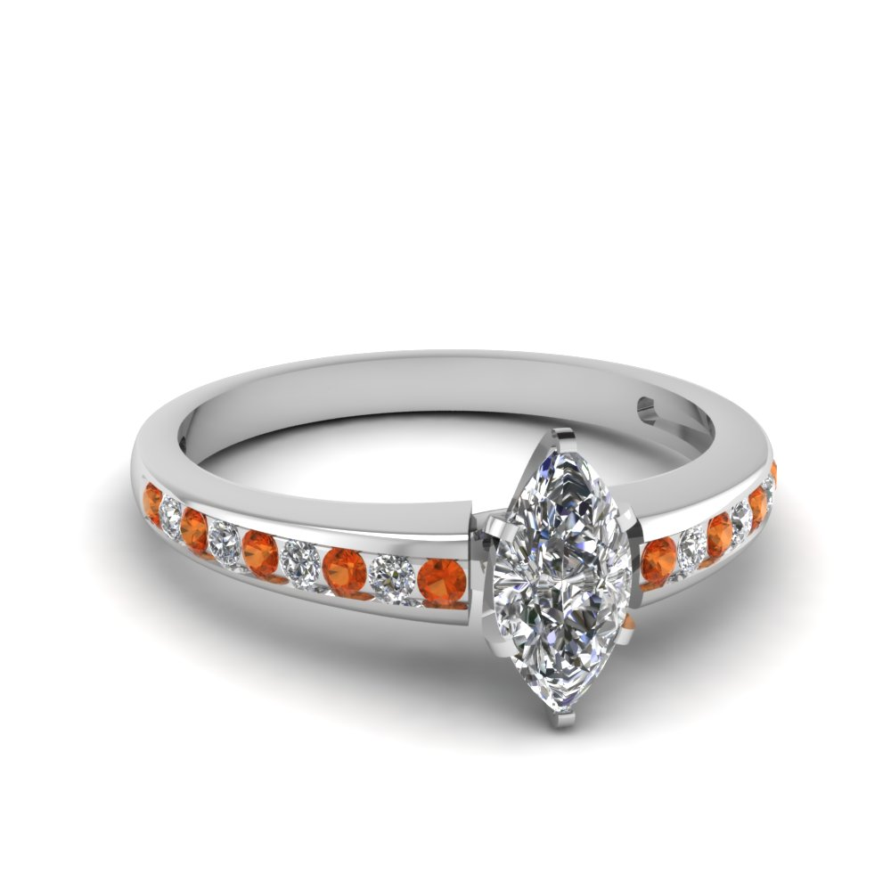 channel set marquise diamond engagement ring with orange sapphire in FDENS3018MQRGSAOR NL WG