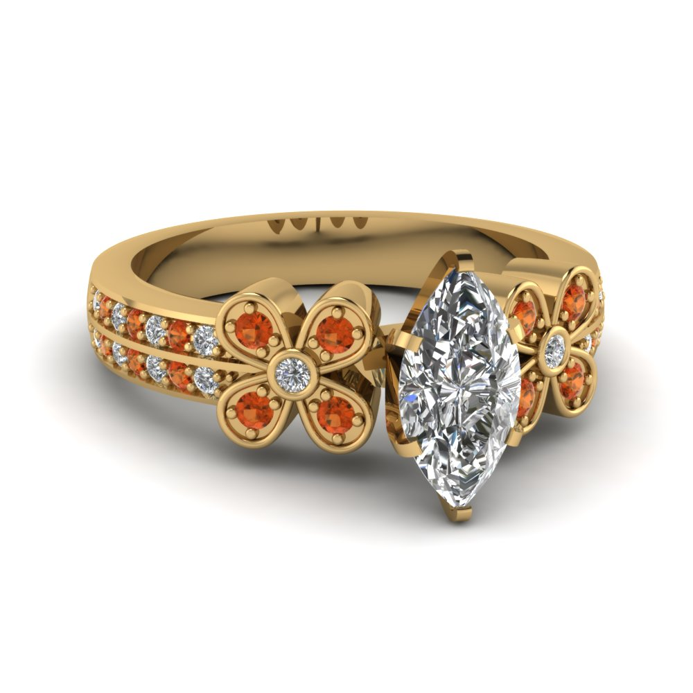 marquise shaped floral diamond ring with orange sapphire in 14K yellow gold FDENS3307MQRGSAOR NL YG