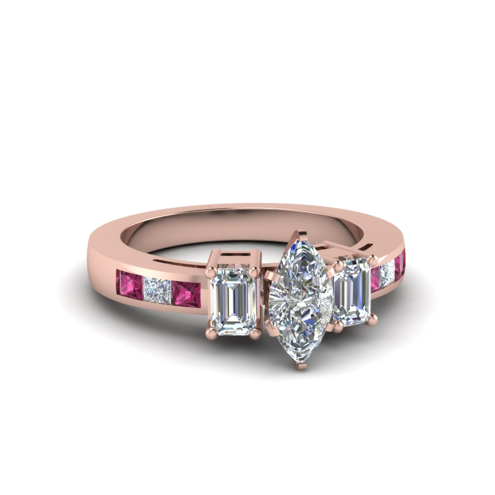 channel set 3 stone marquise diamond engagement ring with pink sapphire in FDENS207MQRGSADRPI NL RG