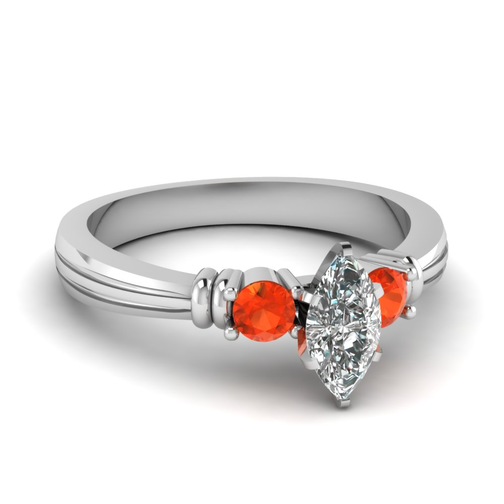 marquise shaped tapered 3 stone diamond engagement ring with orange topaz in FDENS657MQRGPOTO NL WG