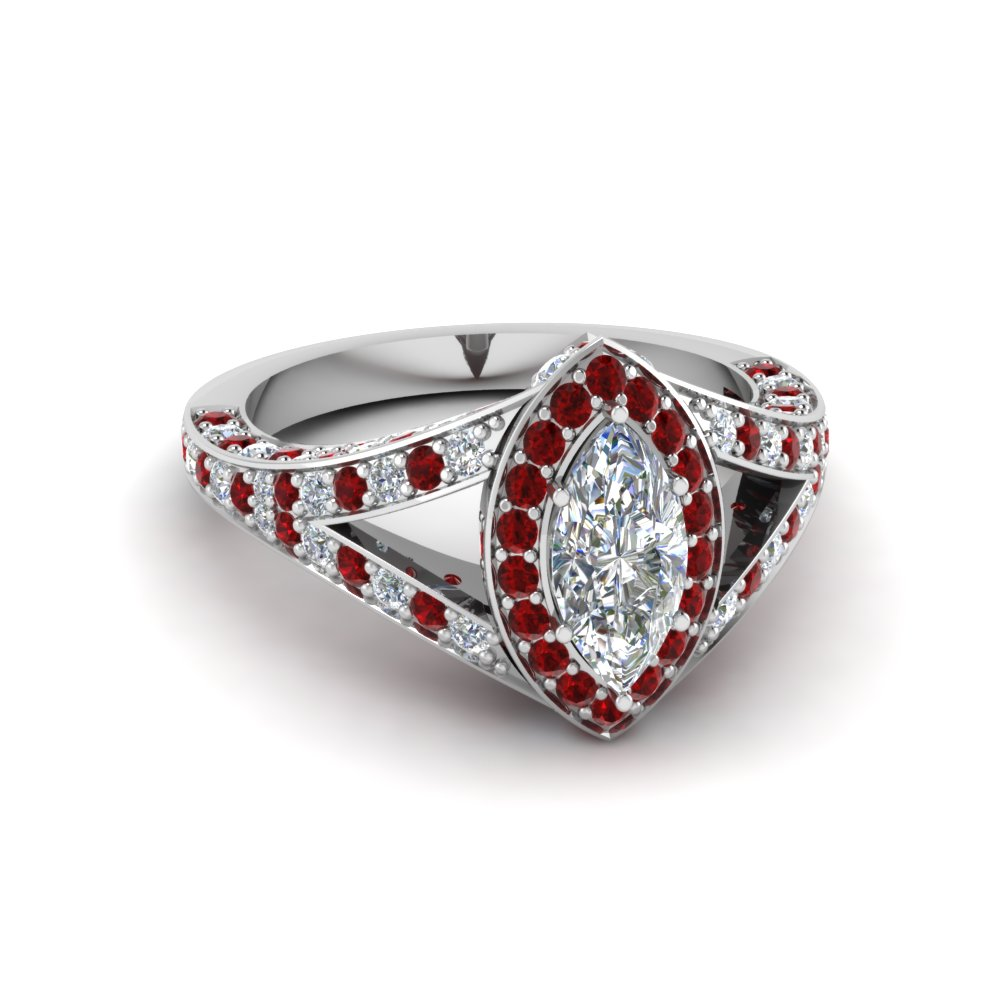 Marquise Diamond Platinum Split Shank Ring with Rubies