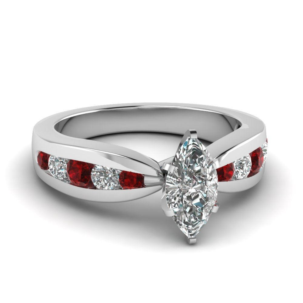 tapered channel set marquise diamond engagement ring with ruby in fdenr2224mqrgrudr nl wg - Red Wedding Rings