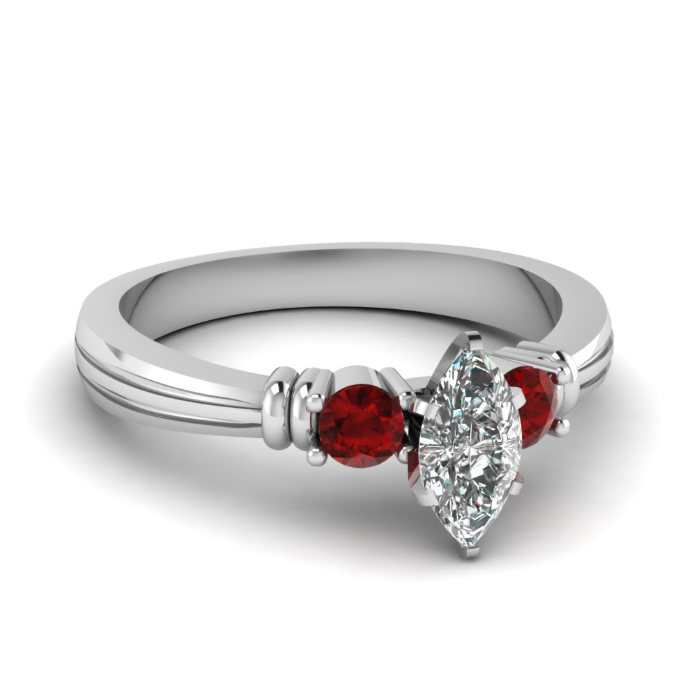 marquise shaped tapered 3 stone diamond engagement ring with ruby in FDENS657MQRGRUDR NL WG