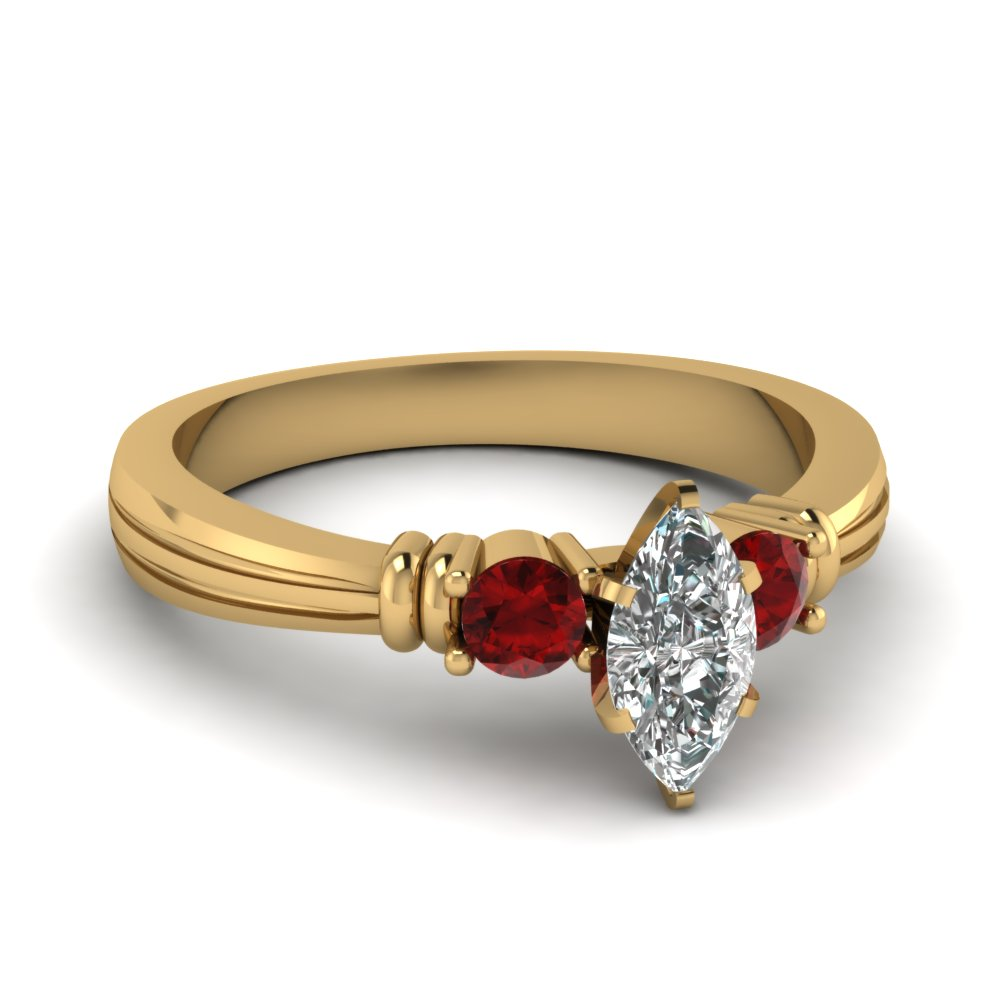 marquise shaped tapered 3 stone diamond engagement ring with ruby in FDENS657MQRGRUDR NL YG