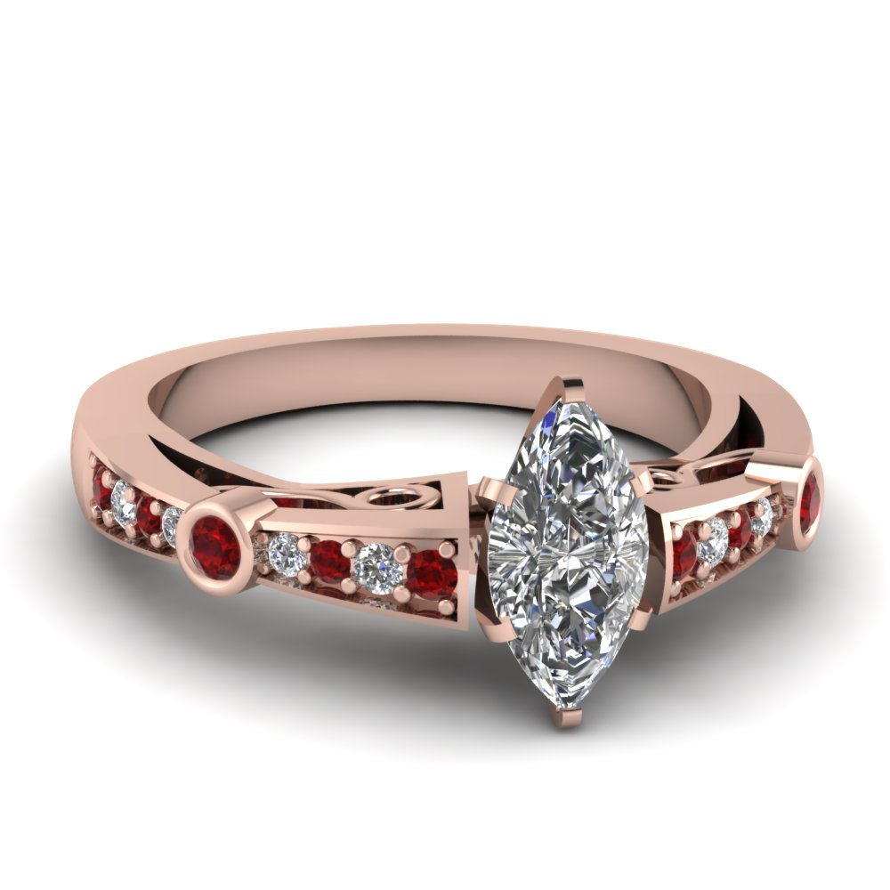 marquise shaped diamond tapered vintage engagement ring with ruby in FDENR3142MQRGRUDR NL RG