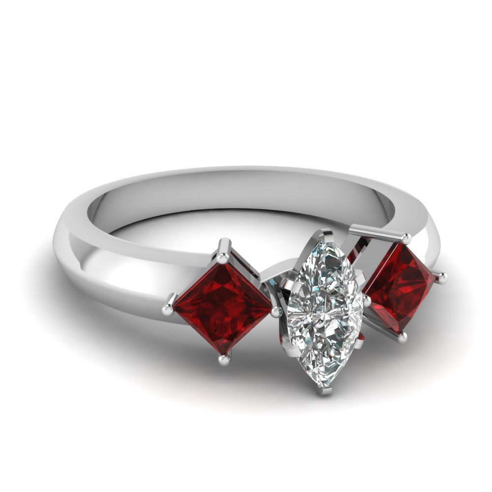 kite set 3 stone marquise cut engagement ring with ruby in FDENR263MQRGRUDR NL WG
