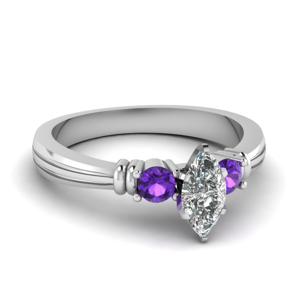 marquise shaped tapered 3 stone diamond engagement ring with violet topaz in fdens657mqrgvito nl wg - Purple Wedding Rings