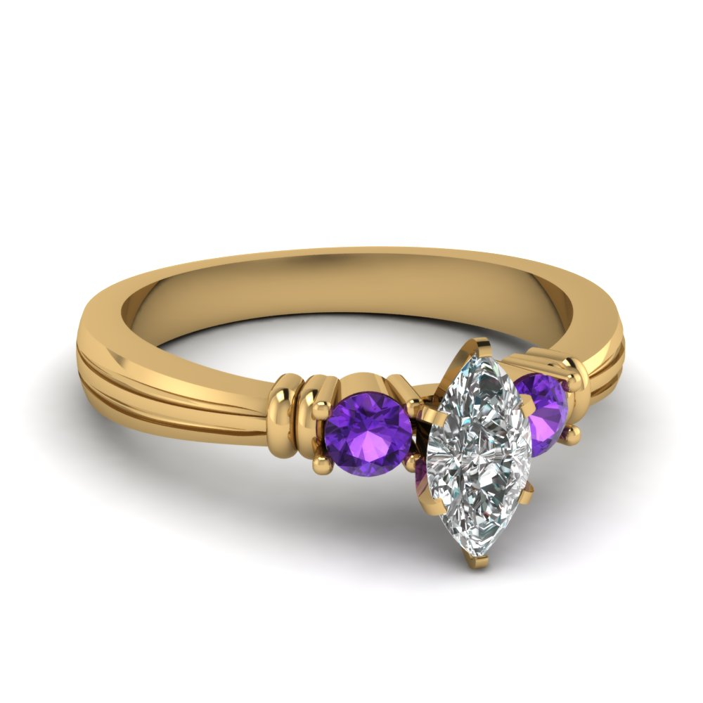 marquise shaped tapered 3 stone diamond engagement ring with violet topaz in FDENS657MQRGVITO NL YG