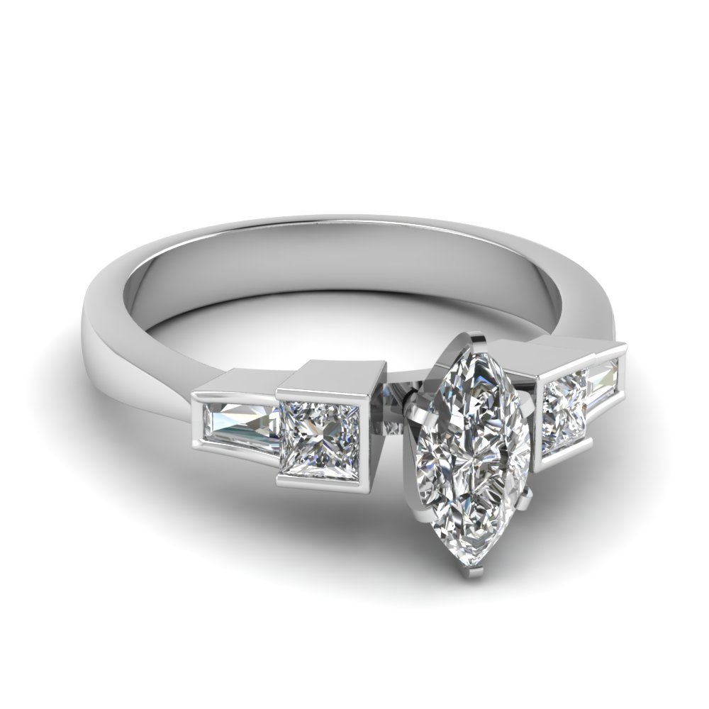 marquise shaped diamond entwine split side stone engagement ring in 14K white gold FDENR1224MQR NL WG
