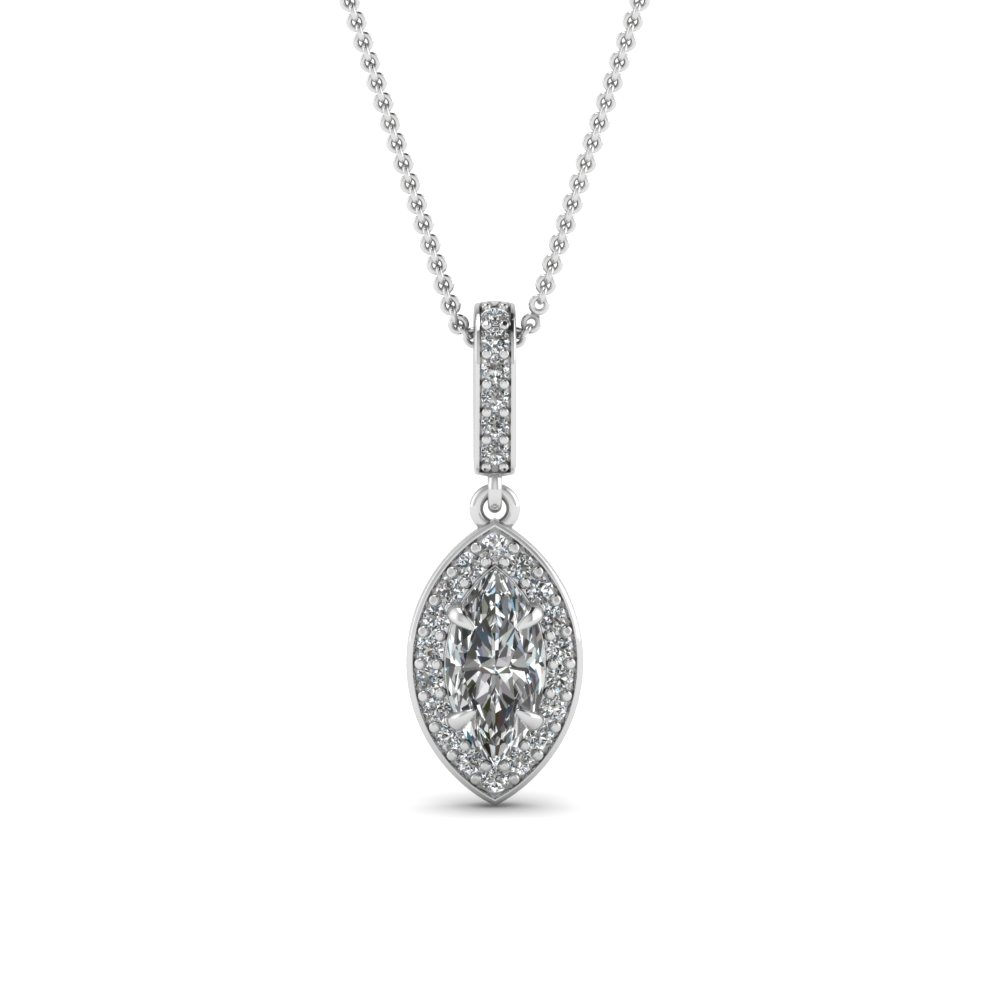 Marquise Cut Halo Diamond Pendant