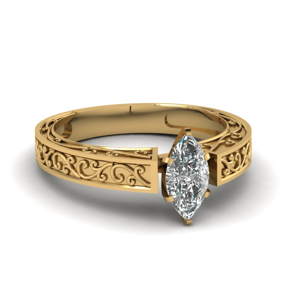 filigree engraved marquise cut solitaire engagement ring in FDENS3569MQR NL YG