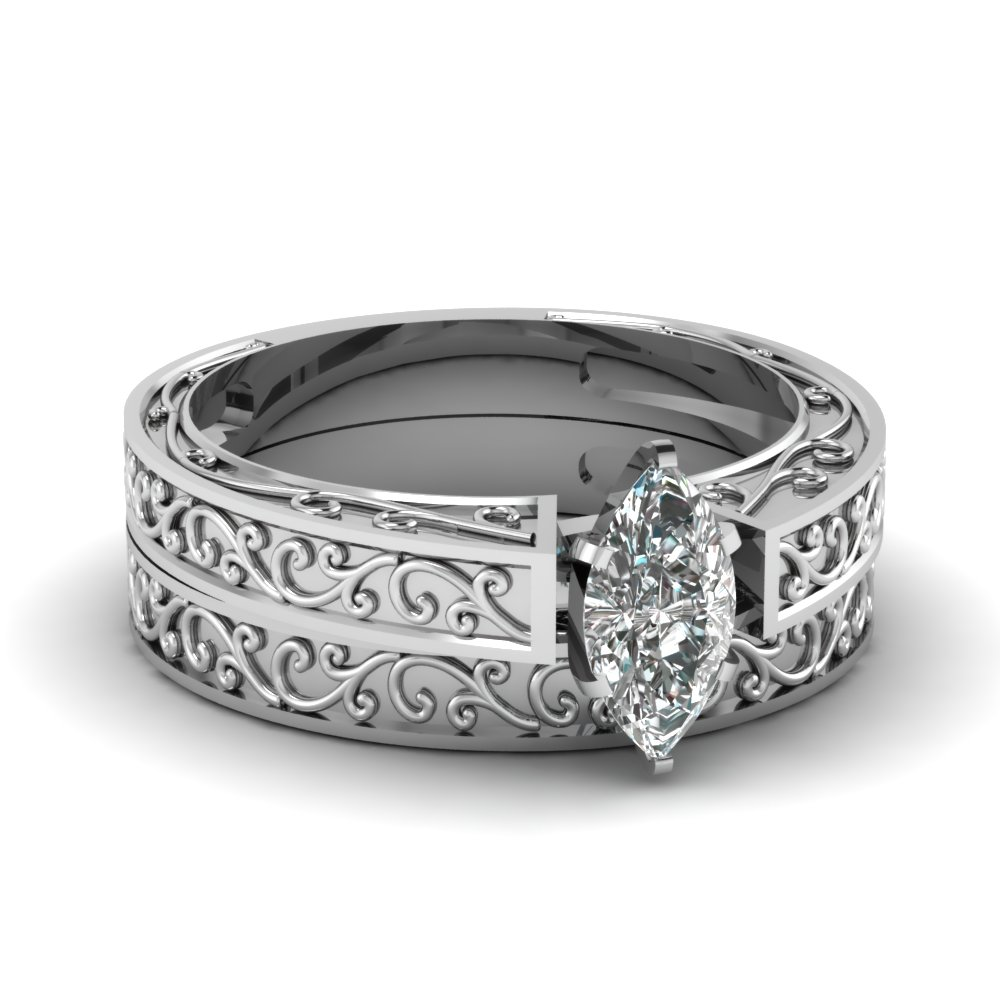 Filigree Engraved Marquise Cut Solitaire Wedding Set In Fdens3569mq Nl Wg