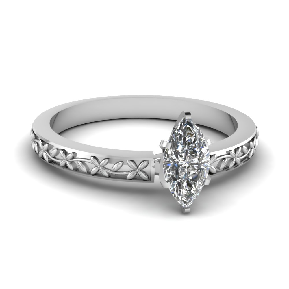 floral engraved marquise diamond solitaire ring in FDENS3552MQR NL WG