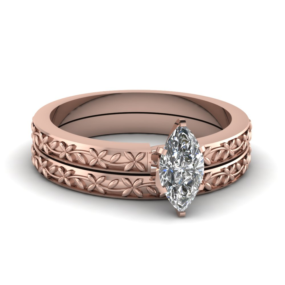 marquise-shaped-diamond-floral-chain-wedding-set-in-18K-rose-gold-FDENS3552MQ-NL-RG