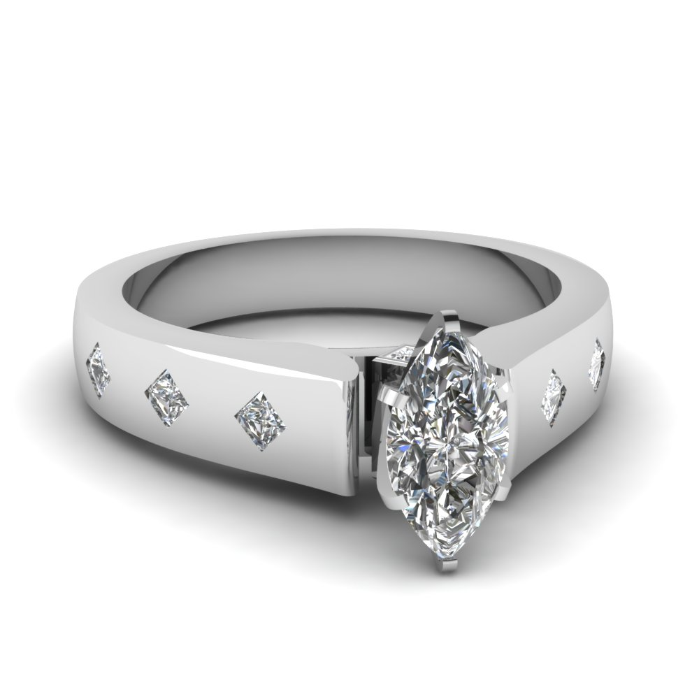 Flush Set 18k White Gold Side Stone Engagement Ring
