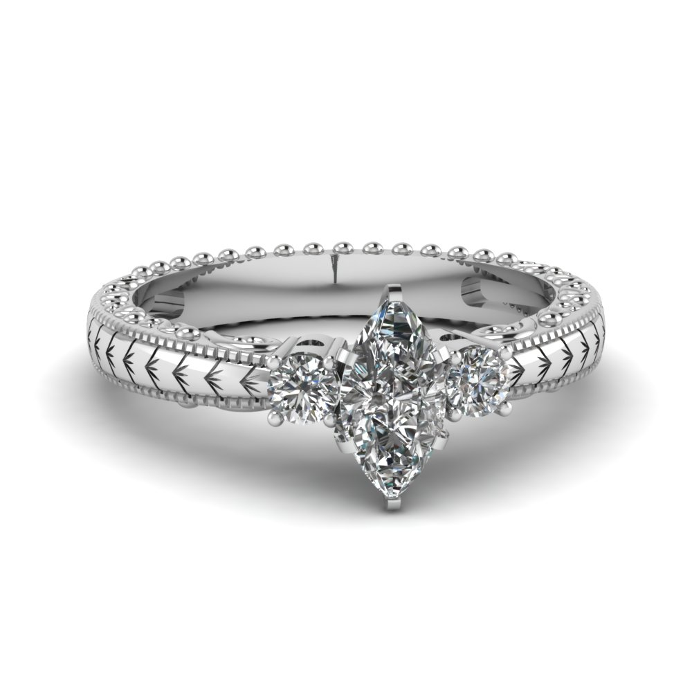 0.50 Carat Marquise Cut Engagement Rings