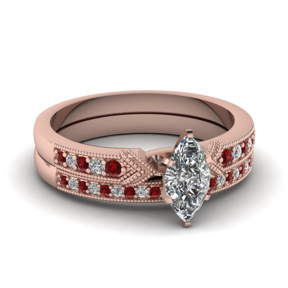 Rose Gold Marquise Shaped Wedding Set