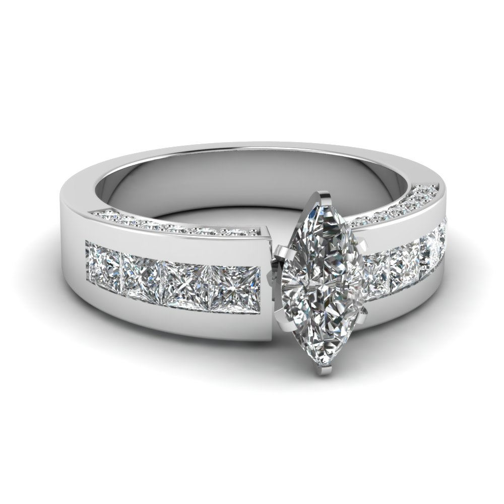 White Gold Marquise Shaped Engagement Ring With Accents