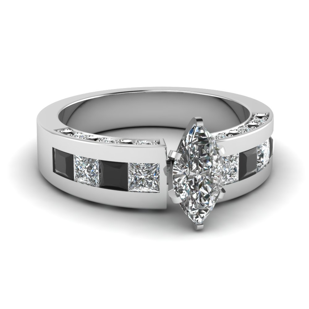 White Gold Marquise Engagement Ring With Black Diamond Accents