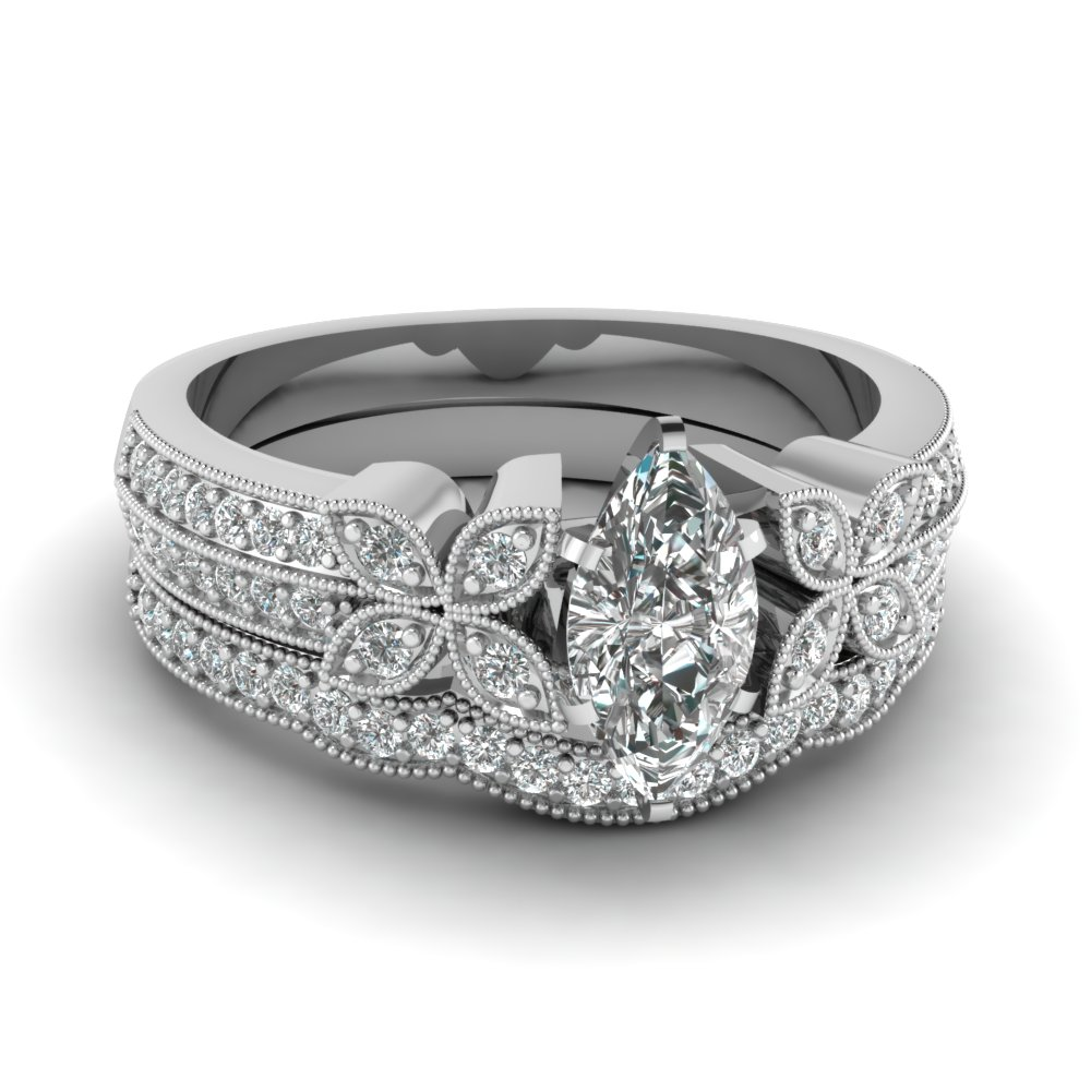 marquise-shaped-diamond-milgrain-petal-wedding-set-in-14K-white-gold-FDENS3308MQ-NL-WG