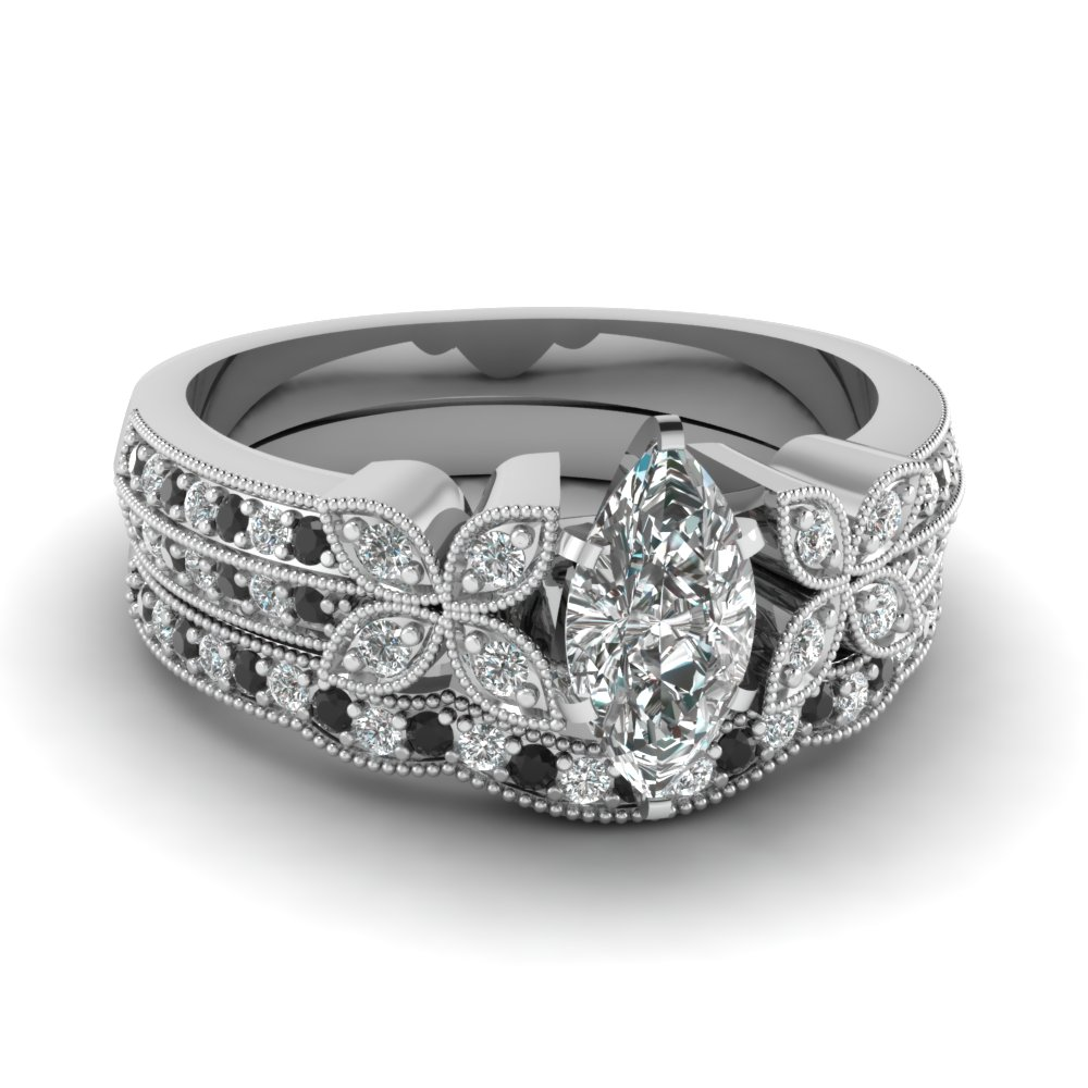 milgrain petal marquise wedding ring set with black diamond in FDENS3308MQGBLACK NL WG