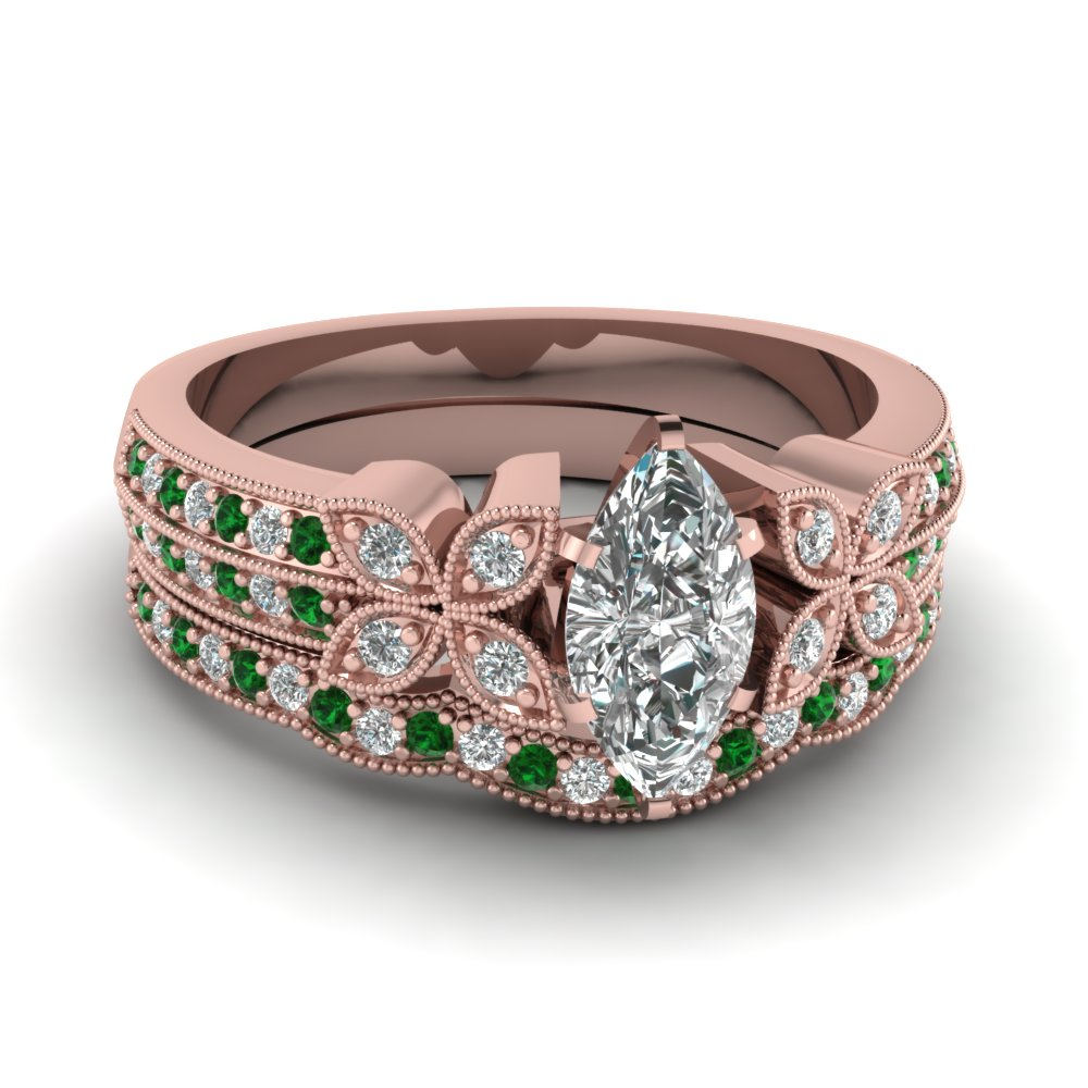 marquise-shaped-diamond-milgrain-petal-wedding-set-with-green-emerald-in-14K-rose-gold-FDENS3308MQGEMGR-NL-RG