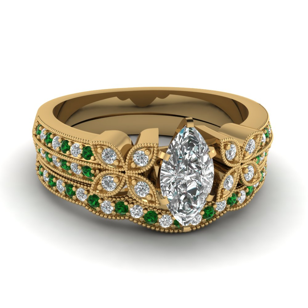 marquise-shaped-diamond-milgrain-petal-wedding-set-with-green-emerald-in-18K-yellow-gold-FDENS3308MQGEMGR-NL-YG