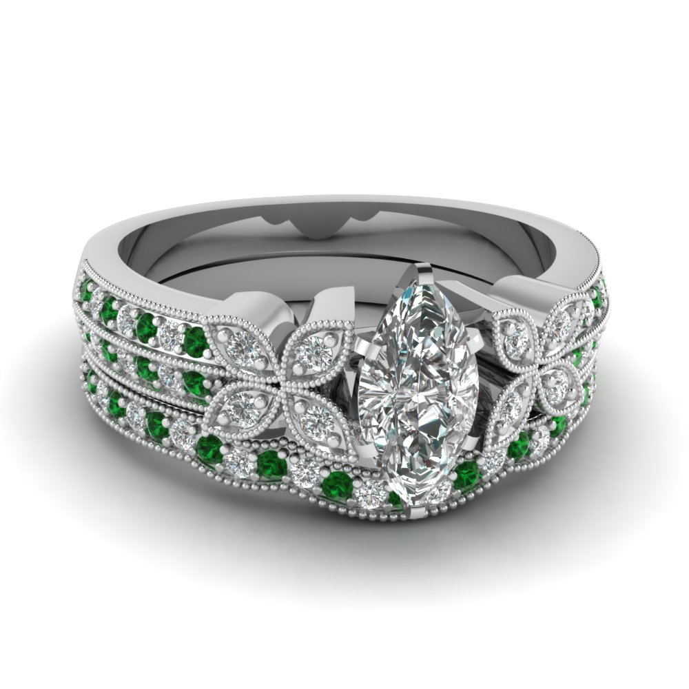 milgrain petal marquise diamond wedding ring set with emerald in FDENS3308MQGEMGR NL WG