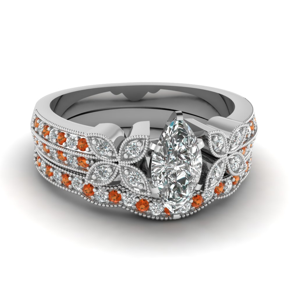 marquise-shaped-diamond-milgrain-petal-wedding-set-with-orange-sapphire-in-14K-white-gold-FDENS3308MQGSAOR-NL-WG