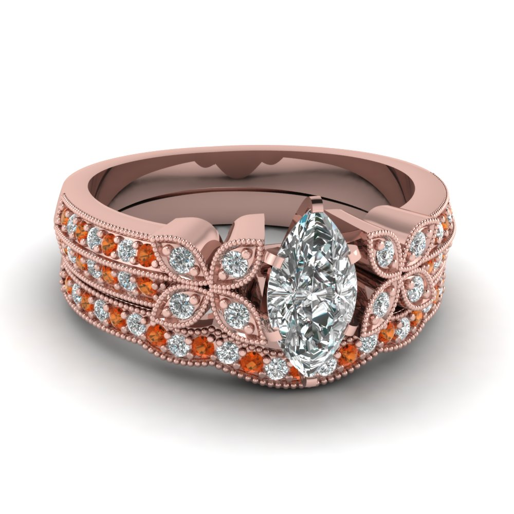marquise-shaped-diamond-milgrain-petal-wedding-set-with-orange-sapphire-in-18K-rose-gold-FDENS3308MQGSAOR-NL-RG