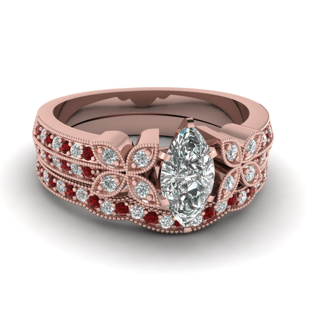 milgrain petal marquise diamond wedding ring set with ruby in FDENS3308MQGRUDR NL RG
