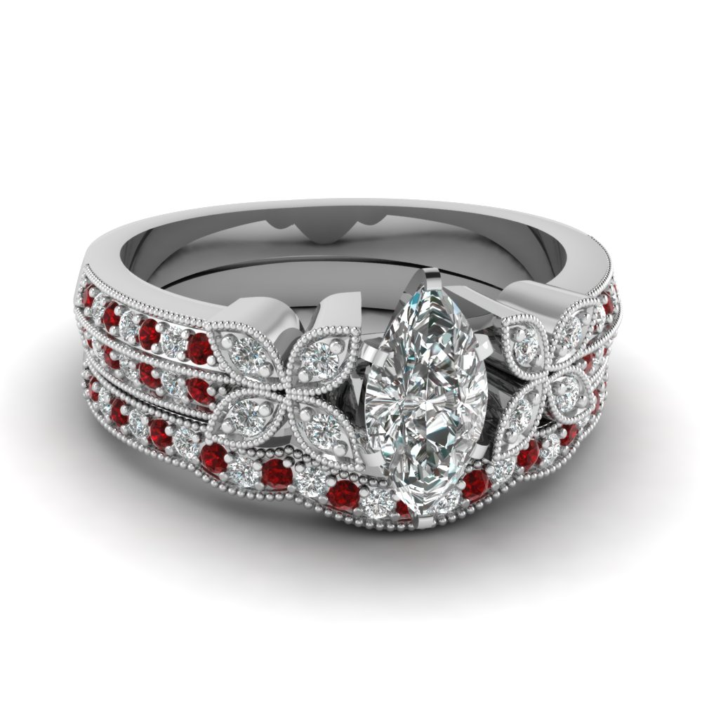 marquise-shaped-diamond-milgrain-petal-wedding-set-with-red-ruby-in-14K-white-gold-FDENS3308MQGRUDR-NL-WG