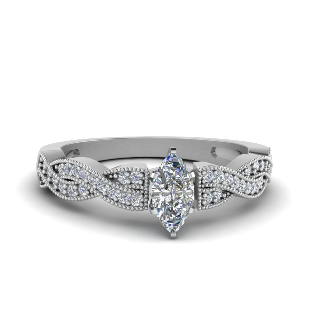 marquise shaped diamond milgrain twisted engagement ring in FDENS3031MQR NL WG.jpg