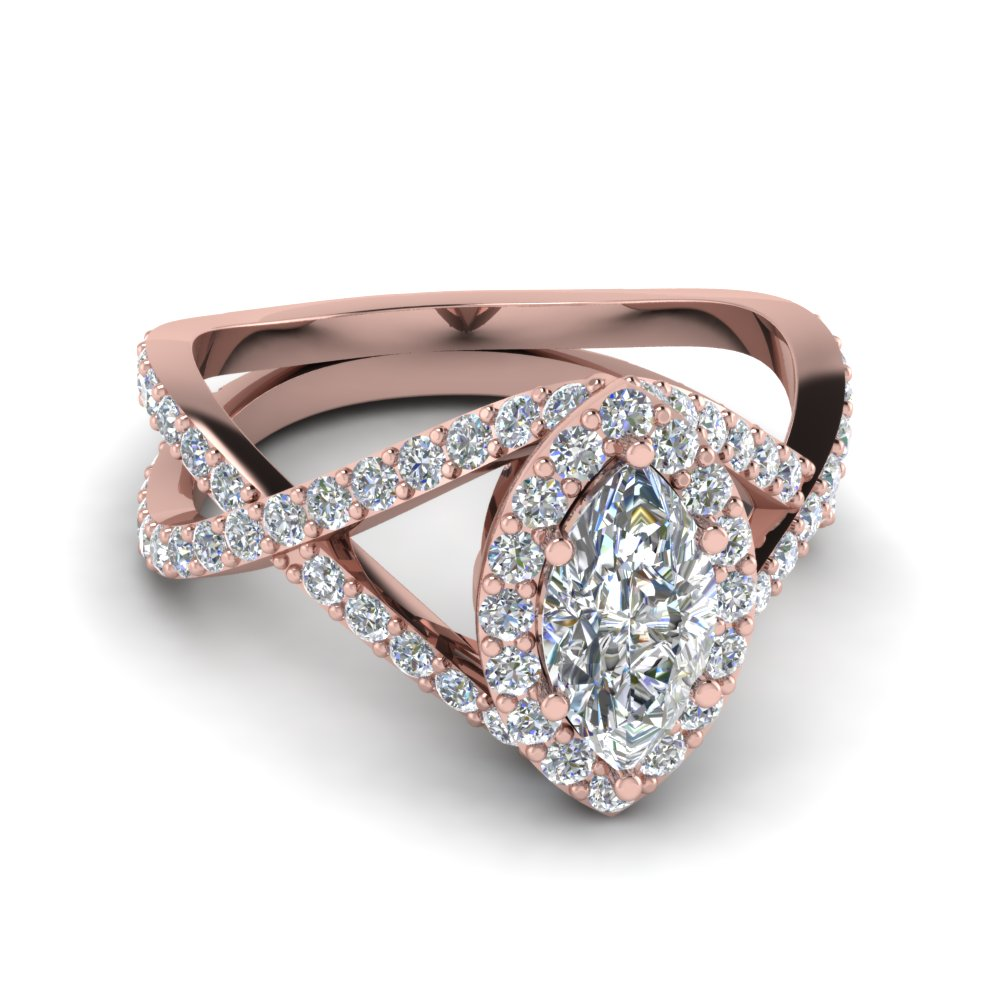 Entwined Halo Diamond Engagement Ring In 14k Rose Gold Fascinating
