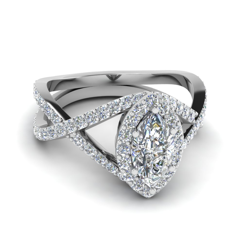 Marquise Halo Engagement Ring in 14K white gold FD1047MQR NL WG