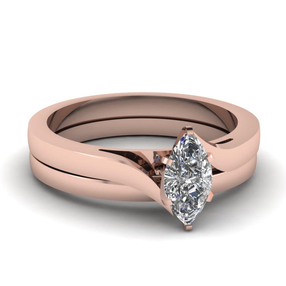 Simple Solitaire Bridal Ring Set Pink Gold