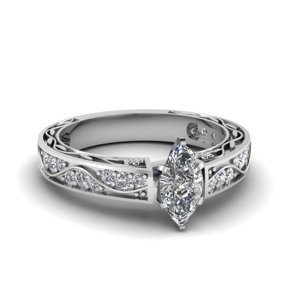 White Gold Marquise Diamond Filigree Engagement Ring