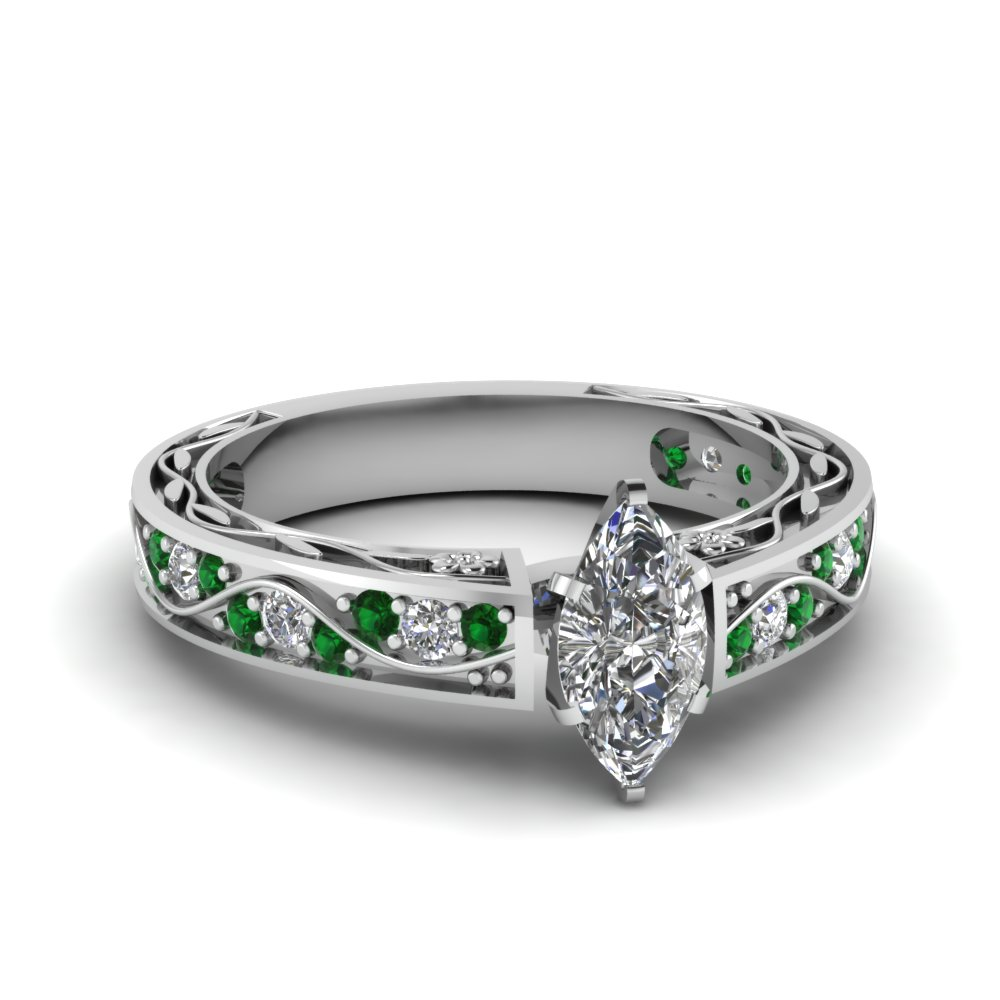 Marquise Shaped Diamond with Emerald Engagement Ring