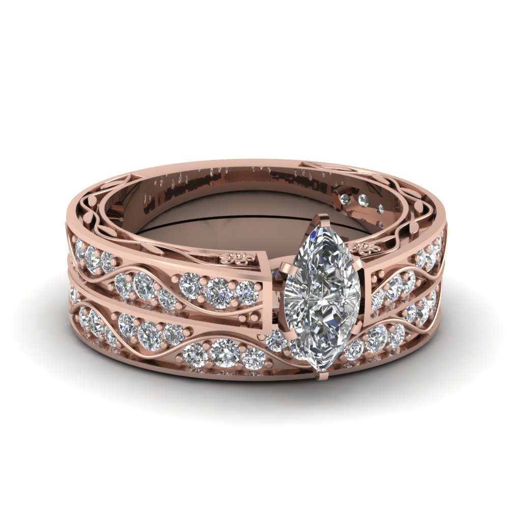 Filigree Wedding Ring Set