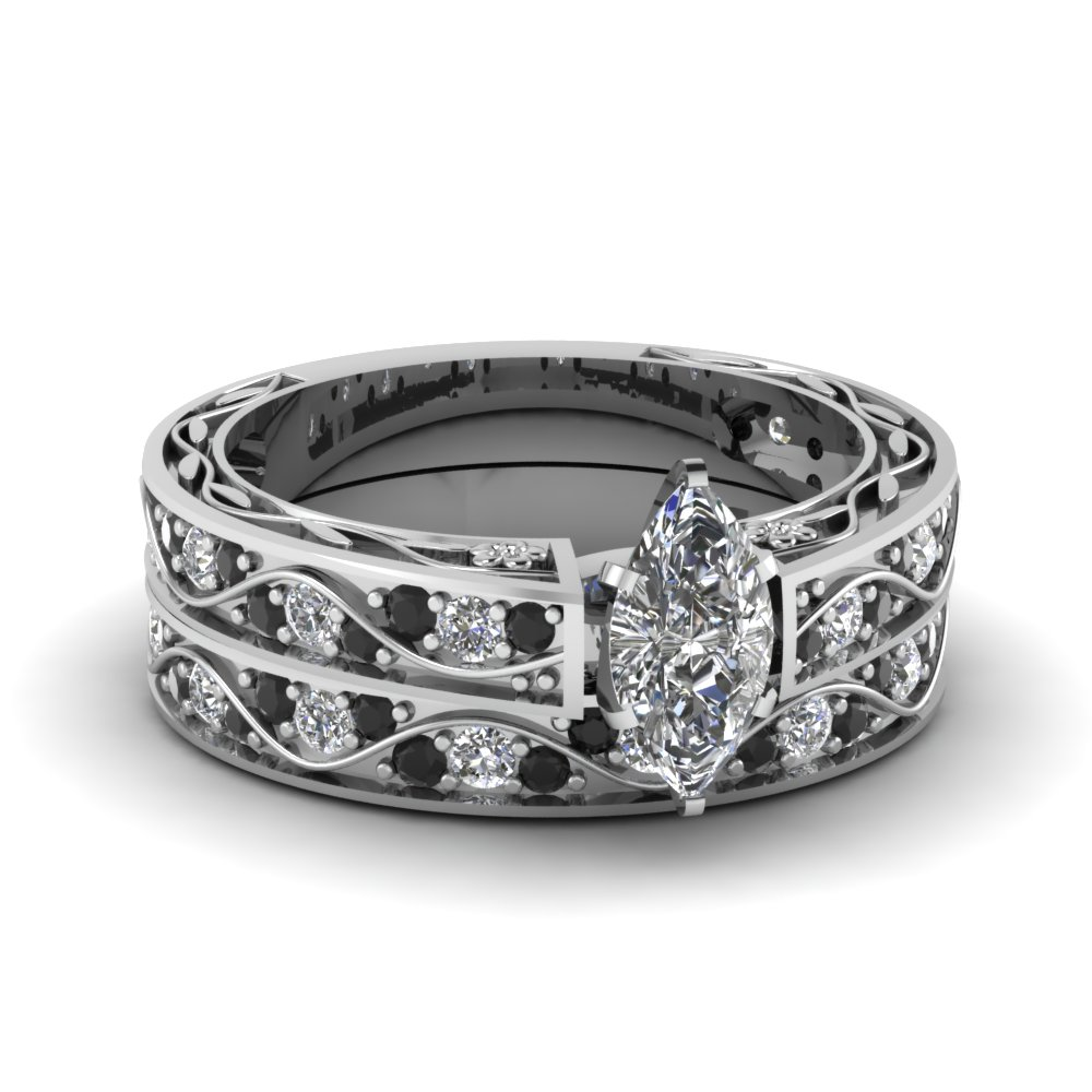 marquise shaped diamond shank wave wedding set with black diamond in 14k white gold fdens3543mqgblack nl